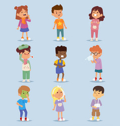 Children sickness illness disease little kids vector