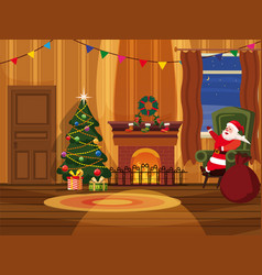 christmas room with santa claus and christmas tree vector image