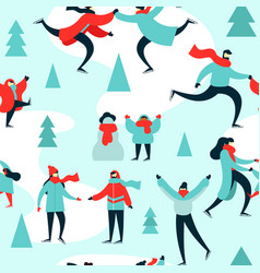 christmas season pattern people at ice skate park vector image