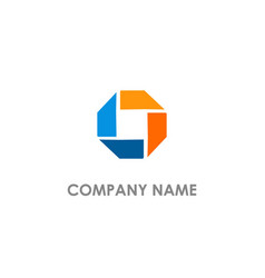 circle polygon colored logo vector image