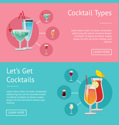 cocktail types lets get cocktails set of posters vector image