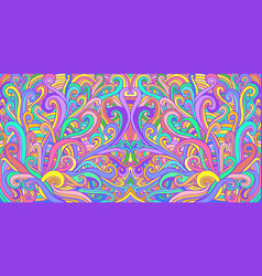 Colorful doodle waves abstract psychedelic vector