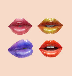 Colorful lips set vector