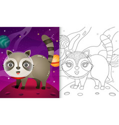 Coloring book for kids with a cute raccoon vector