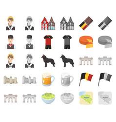 Country belgium cartoonmonochrom icons in set vector