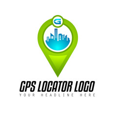 Creative gps city locator logo design for brand vector