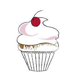 cupcake drawing vector image