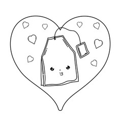 cute tea bag with heart kawaii character vector image