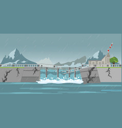 Dam collapse and heavy rain drops vector