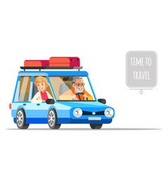 elderly couple traveling together in a car older vector image