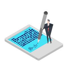 Electronic signature tablet little businessman vector