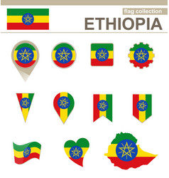 Ethiopia flag collection vector