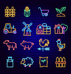 farming neon icons vector image