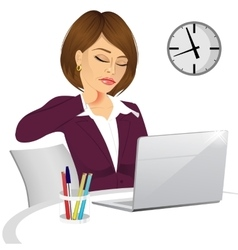 Female office worker suffering neck pain vector