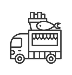Fish and chips truck food truck line style vector