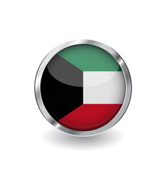 flag of kuwait button with metal frame and shadow vector image