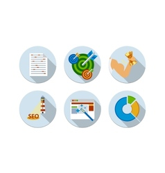 Flat design six icons set of SEO vector image