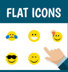 flat icon expression set of have an good opinion vector image