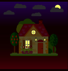 Flat of house at night one-storey vector
