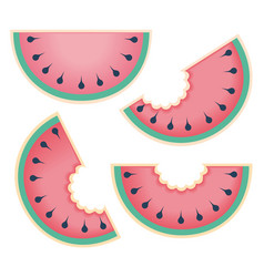 fresh and juicy whole watermelons and slices vector image