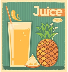 fresh pineapple juice on old paper vintage card vector image