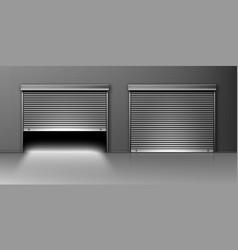 Garage doors hangar entrance with roller shutters vector