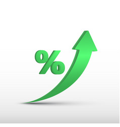 Gdp high growth green arrow up and percent icon vector
