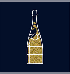 Gold glitter champagne bottle in line art style vector