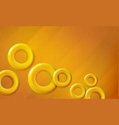 Golden yellow rings background glossy start-up vector