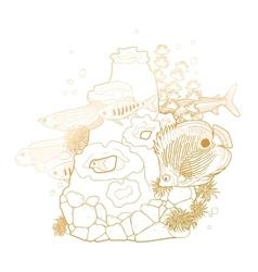 Graphic aquarium fish with coral reef vector