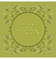 Green herbs floral background circle eco vector