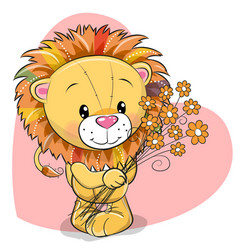 Greeting card cute lion with flowers vector