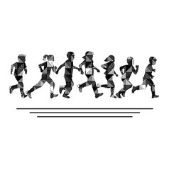 group boys and girls running silhouettes vector image