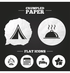 Hot food sleep camping tent and fire signs vector