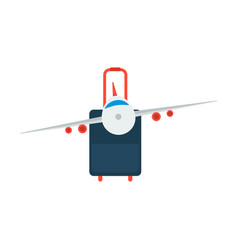 Icon airplane and suitcase travel and vacation vector