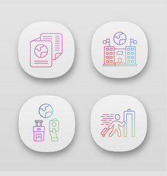 Immigration app icons set embassy and consulate vector