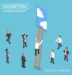 Isometric businessman climbing ladder to the door vector image