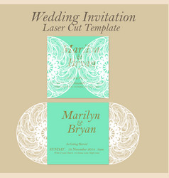 laser cut wedding invitation or greeting vector image