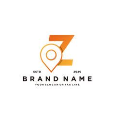 Letter z map pin logo design vector