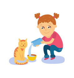 Little girl pouring milk into bowl for her cat vector