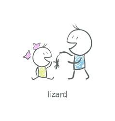 Lizard in hand vector