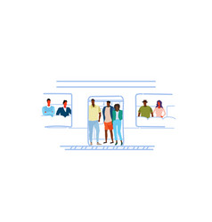Mix race people passengers in train subway car vector