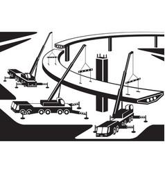 mobile cranes installing part a bridge vector image
