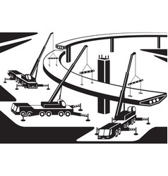 mobile cranes installing part of a bridge vector image