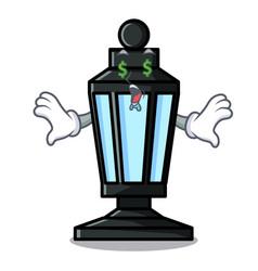Money eye street lamp mascot cartoon vector