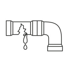 Monochrome silhouette with water pipe broken vector