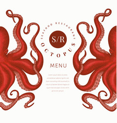 octopus colored banner template hand drawn vector image