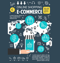 online shopping flat banner for e-commerce design vector image