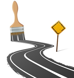 Paint brush draws road next to a traffic sign vector