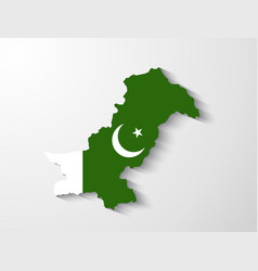 pakistan map with shadow effect presentation vector image